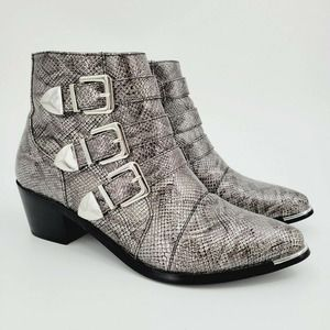 Pieces Snake Print Buckle Ankle Boots Pointy Toe
